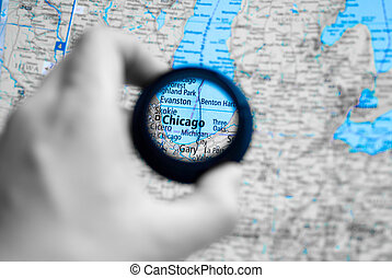 Map of Chicago - Selective focus on antique map of Chicago