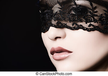 gorgeous - Close-up portrait of a charming woman in black...