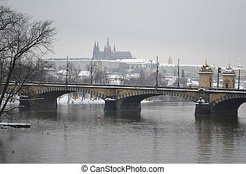 View of the Vltava River in Prague.