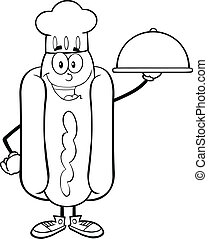 Black And White Happy Hot Dog Chef Cartoon Character With A...