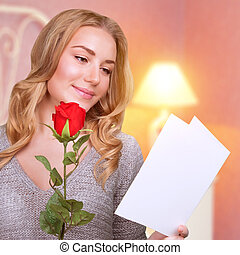 Romantic woman in Valentine day