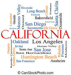 California State Word Cloud Concept with about the 30...