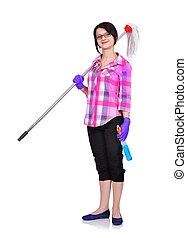 cleaning woman standing with mop and glass cleaner