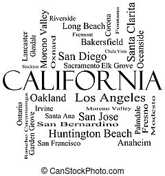 California State Word Cloud Concept in black and white with...