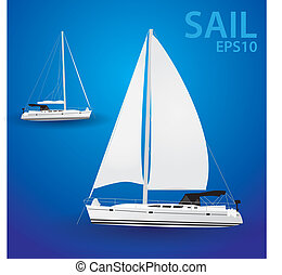 vector sailing boat eps10