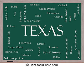 Texas State Word Cloud Concept on a Blackboard with about...