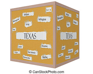 Texas State 3D cube Corkboard Word Concept with great cities...