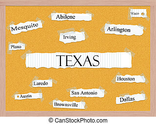 Texas State Corkboard Word Concept with great cities listed...
