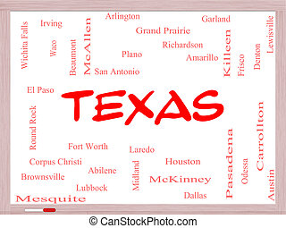 Texas State Word Cloud Concept on a Whiteboard with about...