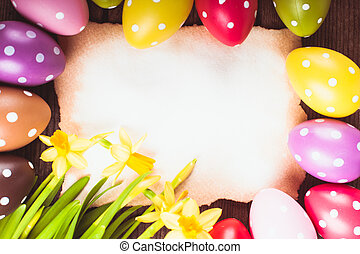 Easter eggs and card - Colorful polka dot eggs and empty...
