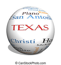 Texas State 3D sphere Word Cloud Concept with about the 30...