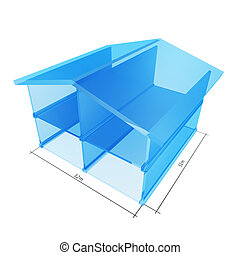 glass house - solid glass house blueprint isolated on white...