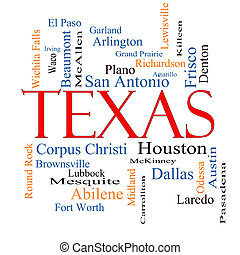 Texas State Word Cloud Concept with about the 30 largest...