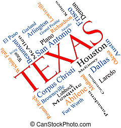Texas State Word Cloud Concept Angled - Texas State Word...