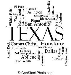 Texas State Word Cloud Concept in black and white with about...