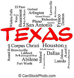 Texas State Word Cloud Concept in red caps with about the 30...