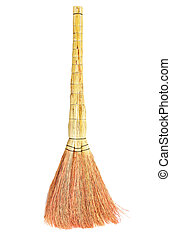 broom on white background