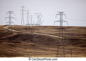 Power lines #3. - Power lines in foothills near Calgary,...