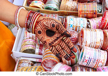 Close up of hand with henna painting, Sadar Market, Jodhpur,...