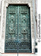 Duomo Front Door Florence Italy