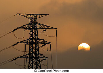 solar and power, Electricity tower, Electricity...