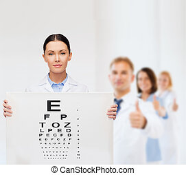 calm female doctor with eye chart