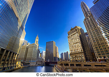 Chicago River Walk with urban skyscrapers, IL, USA