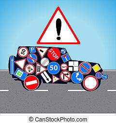 Road signs - Vector illustration car with road signs