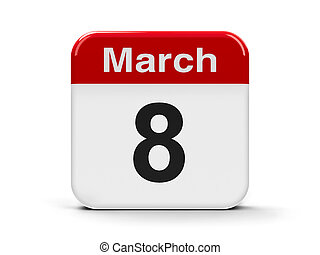 8th March - Calendar web button - Eighth of March,...