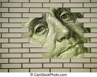 Brick Wall Hole showing Money Detail - Brick wall...
