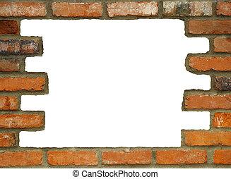 Hole in the Wall - Brick wall background, with large white...