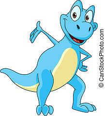 Dinosaur presenting - Smiling blue dinosaur presenting with...