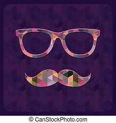 Hipster Icon with Geometric Grunge Background - Hipster Icon...