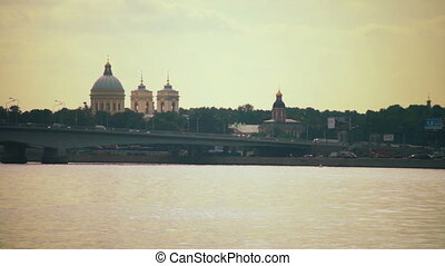 Beautiful city view with Neva river and Saint Alexander...