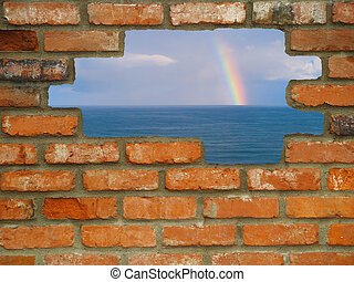 Hole in the Wall Rainbow Escape - Brick wall background in...