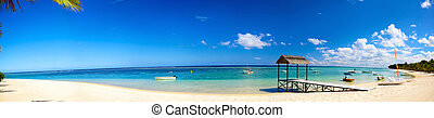 Tropical sand beach panorama - Panoramic view of tropical...