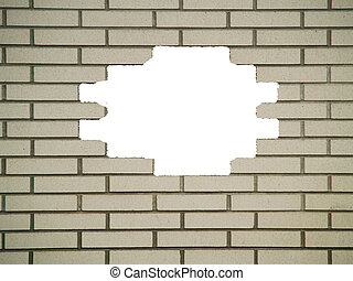 Hole in the White Brickwall - Brick wall background, with...