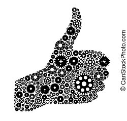 Thumbs Up Symbol, Which is Composed of Black Gears. Vector illustration