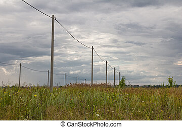 poles with electricity in the