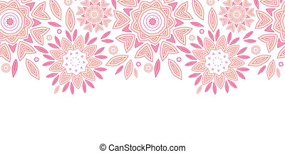 Pink abstract flowers horizontal seamless pattern background...
