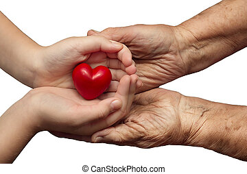 little girl and elderly woman keeping red heart in their...
