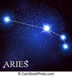 vecteur, bélier, zodiaque, signe, beau, clair,...