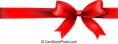 Red Bow And Ribbon, With Gradient Mesh, Vector Illustration