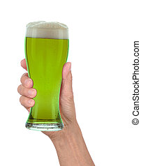 Hand Holding Glass of Foamy Green Beer