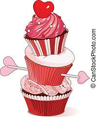 Valentine cupcakes  - Pyramid of Valentine cupcakes