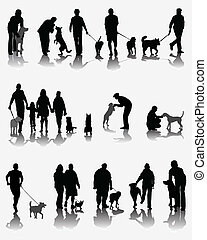 People and dogs - Black silhouettes and shadows of people...