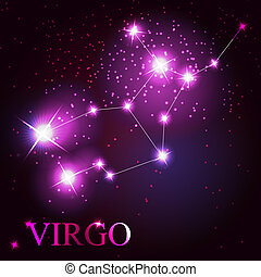 Virgo zodiac sign of the beautiful bright stars on the background of cosmic sky