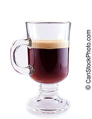 Coffee in a glass isolated on white