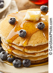 Homemade Buttermilk Pancakes with Blueberries and Syrup for...