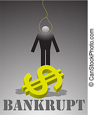 Bankrupt - The Illustration on a theme of crisis and...